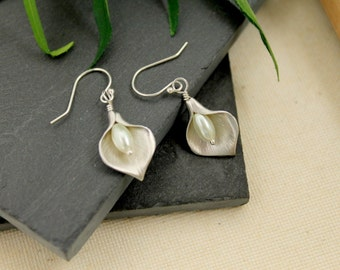 SALE - Calla Lily Earrings, White Gold , White Pearl, Calla Lily Jewelry