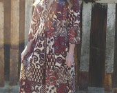 Baez Tribal Fitted Caftan Maxi Dress