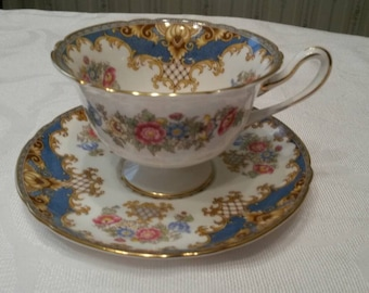 "Shelley Tea Cup and Saucer; Footed; Blue Pattern; Titled, ""Sheraton""  circa 1945-1966- DR"