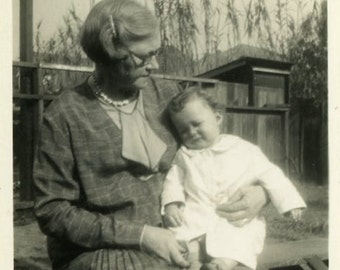 "Vintage Photo ""Grandma and Little Billie Boy"" Baby Snapshot Old Antique Photo Black & White Photograph Found Paper Ephemera Vernacular - 67"