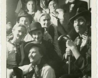 "Vintage Photo ""Fun Night of Dress Up"" Girl Costume Snapshot Photo Old Photo Black & White Photograph Found Paper Ephemera Vernacular - 111"