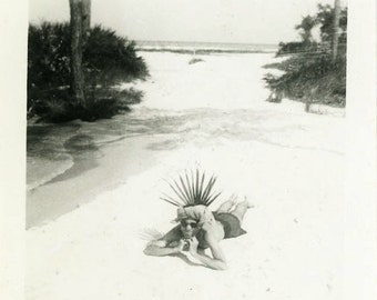"Vintage Photo ""Mr. Fun and Games"" Beach Palm Tree Funny Snapshot Old Photo Black & White Photograph Found Paper Ephemera Vernacular - 111"