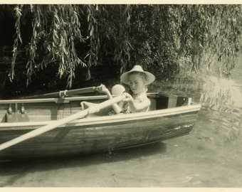 "Vintage Photo ""First Day of August"" Girl Rowing Boat Snapshot Photo Old Photo Black & White Photograph Found Paper Ephemera Vernacular - 76"