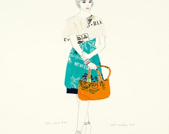 Flour Girl Two Fine Art Print. Drawing. Fashion Collage. Modern Art. Fashion Illustration.