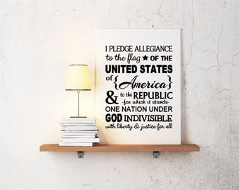 Pledge of Allegiance Vinyl Decal - Wall Decal Quote, Vinyl Art, Vinyl Quote, USA Vinyl Decal, Pledge Allegiance, Patriotic Lettering, 11x14