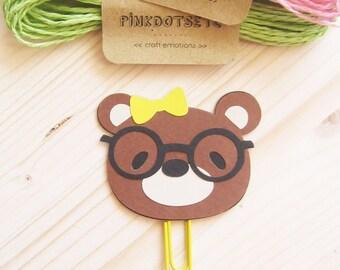 Nerd Bear Planner Clip, Nerd Bear Paper Clip, Planner Accessories, Stationery, Paperclips, Page Marker, Nerd Bear Black Glasses, FiloFax