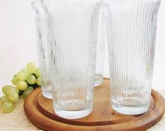 "Mid-Century Jeannette FINLANDIA Tumblers, Collins Glasses, Set of 5 ... Tree Bark, Icicle Glassware  6 3/8"" ... Vintage Barware"