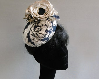 navy blue and silver colour 3 d fabric percher hat with ton sur ton flowers on comb