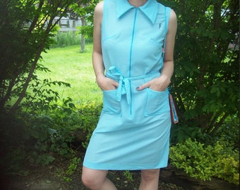 Vintage 70's Turquoise Striped Midi Dress With Seahorse Patch, Deadstock Dress, Sleeveless Summer Dress