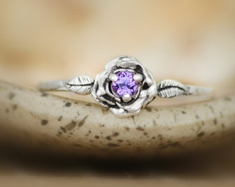 Delicate Purple Amethyst Rose Engagement Ring in Sterling - Silver Unique Rose Promise Anniversary Ring - February Birthstone Ring