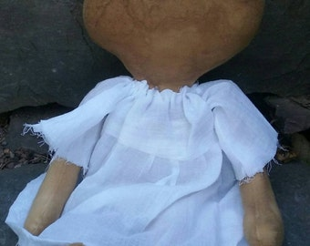 Extreme Grungy, Primitive Doll, Shelf Sitter, Wall Hanger, Pretty Dress, Faceless, Sweet and Simple