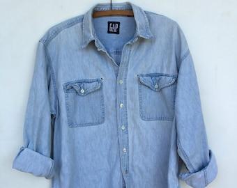 Vintage 90s Distressed GAP Light Blue Denim Jean Long Sleeve Shirt L