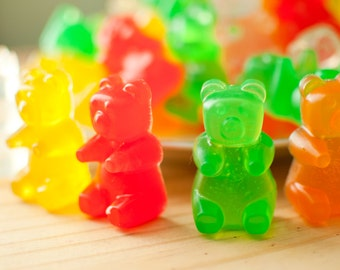 Big Gummi Bear Soaps - Big Bears - 2.5 oz - mixed fruit scented - candy soap - food soap - red, green, yellow, orange