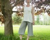 Organic Clothing Striped Gauchos Organic Cotton Hemp Sustainable Fiber Earth Mother Maternity Hippie Pants Yoga Woodland Nature Hemp Womens