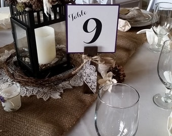 "Wood Table Number Holders With Lace Accents -  6"" tall Clothespins - Photo holder, table number holder, memo"