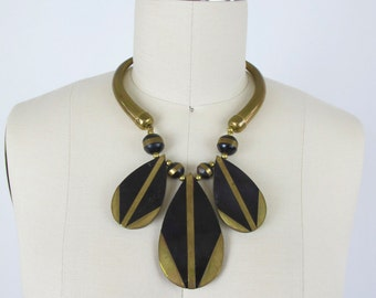 1970s Brass and Wood Bib Necklace