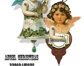 printable Christmas ornament, paper doll angels craft sheet holiday scrapbook sheet tree ornament