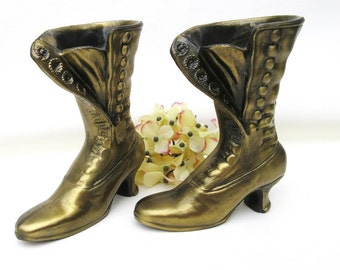 Antique Button Boots, Small Brass Shoe Vases, Victorian Boot Planters, Pair Ladies Boots