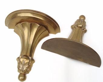 Vintage Brass Sconces, Floating Wall Shelves, Brass Bookends, Brass Wall Hanging, Greek Columns