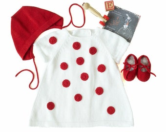 Knitted baby dress set, white and red, ladybug dress. 100% cotton. READY to SHIP size NEWBORN.