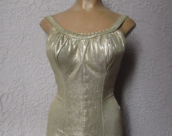 50's/60's Vintage Gold Lame' Swimsuit med