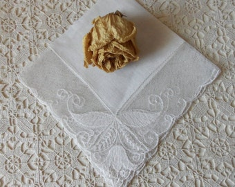 Antique Wedding Handkerchief - 75 to 100 Years Old, French Net Lace, Tulip Swirl Design, Bridal Accessory, Eco-Friendly Linen:  BBD-820