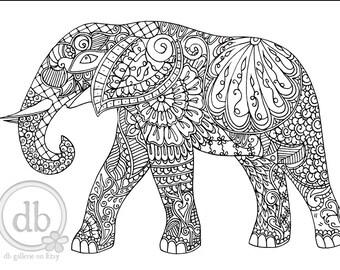 Henna elephant etsy fr - Elephant a colorier ...