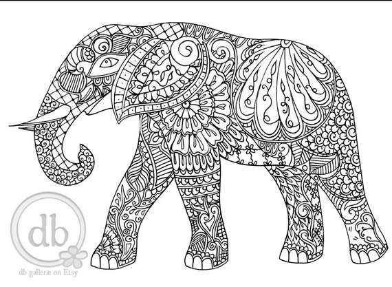 Mehndi Elephant Coloring Pages : Adult coloring poster henna elephant print