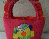 Little Girls Pink & Orange Bag with Easter Chick Applique Design.