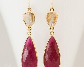 Red Ruby Earrings - July Birthstone Jewelry - Rutilated Quartz Earrings - Gold Dangle Earrings - Gemstone Earrings - Ruby Jewelry