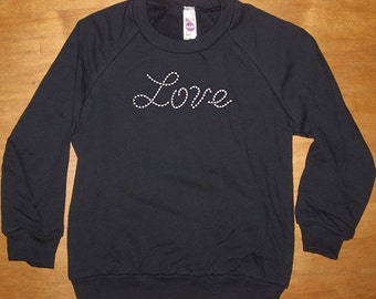 Love Heart Sweatshirt - Valentines Day - Long Sleeved Shirt - Boy or Girl - Navy Blue Fleece - Gift Friendly - Valentine Gift