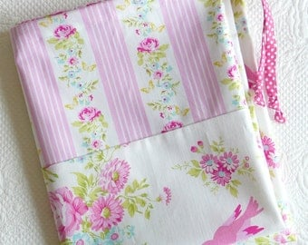 Large Drawstring Bag. Lingerie Bag. Shabby Chic Pink Roses, Birds and Fresh Stripes. Floral Cotton Bag