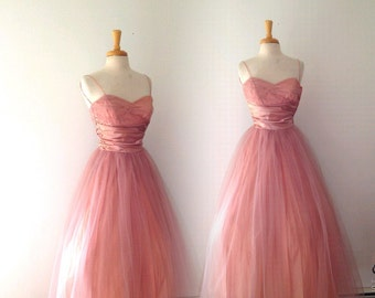 1950s dusty rose taffeta and tulle pink crinoline party dress size xsmall