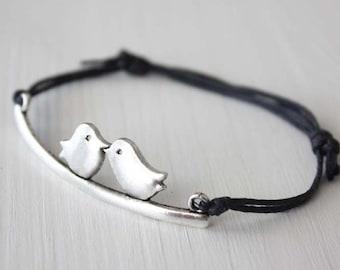 Love Birds Bracelet or Anklet, Kissing Birds, Tibetan Silver