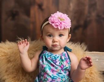 Pink and gold headband - Pink gold glitter headband - 1 birthday headband - Gold headband - Pink first headband - Flower headband