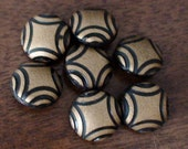 Art Deco Round Dress Buttons, Set of Seven, Warm Brown and Metallic Gold