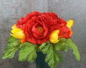Memorial Flower Arrangement for Cemetery Decoration Red Ranunculus Orange Yellow Tulips Grave Marker Memorial Day Flower Arrangement