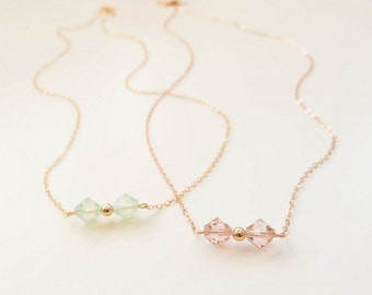 Crystal Bow Necklace . rose or yellow gold filled . pick your color . dainty necklace