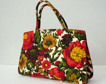 1960s vintage purse / floral linen purse / Margaret Smith