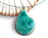 Enameled copper pendant ~ Mother's Day gift, enamel pendants, handmade enamelled jewellery, turquoise pendant, gift for her, casual jewelry