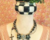 Vintage Handcrafted Day of the Dead  Sissie Skull Pendant on Vintage beaded necklace including Rosary