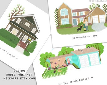 PRINTABLE Custom house portraits with or without pet