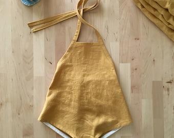 GIRLS LINEN ROMPER mustard yellow linen-rayon halter sunsuit, baby, toddler
