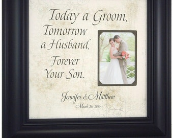 Personalized Picture Frames, Mr Mrs, Wedding Signs, Mother Of The Groom, TODAY A GROOM, Wedding Gift for Parents, 16 X 16