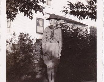 Boy Scout Uniform- 1930s Vintage Photograph- La Crosse, Wisconsin- Found Photo- Vernacular Photography- Shadow Snapshot- Paper Ephemera