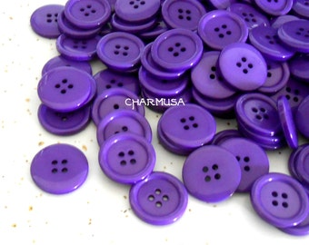 10 Pieces 25mm 1 Inch Solid Purple Plastic Button 4 Hole Round