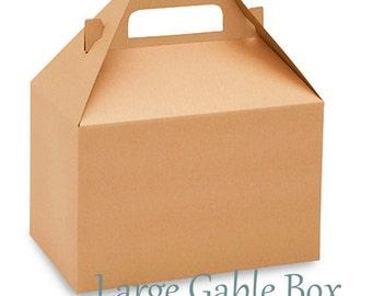 12 Kraft Gable Favor Boxes-  large  Natural Gift Boxes - Party Favor Supplies - DIY Wedding favor Boxes -  Guest Box