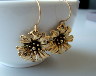 Golden Flowers , antique  gold tone brass earrings with bronze ear wires