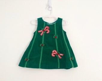 1990s baby girls christmas dress , candy cane jumper, photo prop , girls cordroy dress