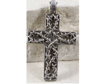 Vintage Sterling Cross with Thorns Religious Pendant on Black Satin Cord